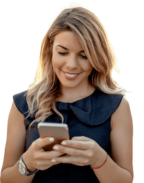 Woman using payroll software on phone