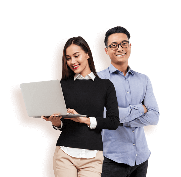 Woman and man using payroll software on laptop