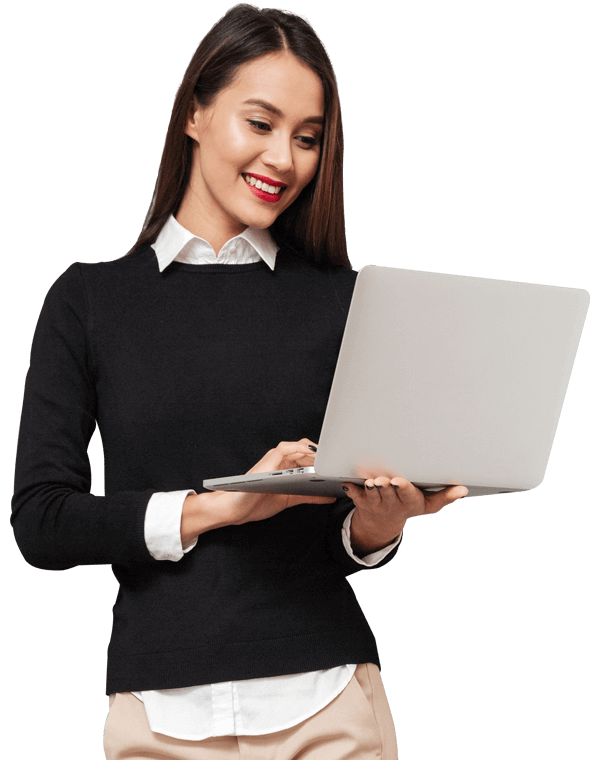 woman using payroll and HR software laptop